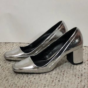 Zara Laminated High Heel Shoes - Silver - Size 8